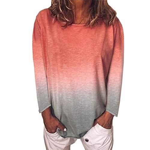 Camiseta de manga larga para mujer con estampado degradado