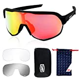Putron Gafas de Ciclismo, Gafas de Sol Polarizadas, Gafas de Sol Deportivas, con 3 Lentes Intercambiables, UV400 Protección, Correr, Golf, Beisbol, Surf, Conducción, Esquiando, Pesca