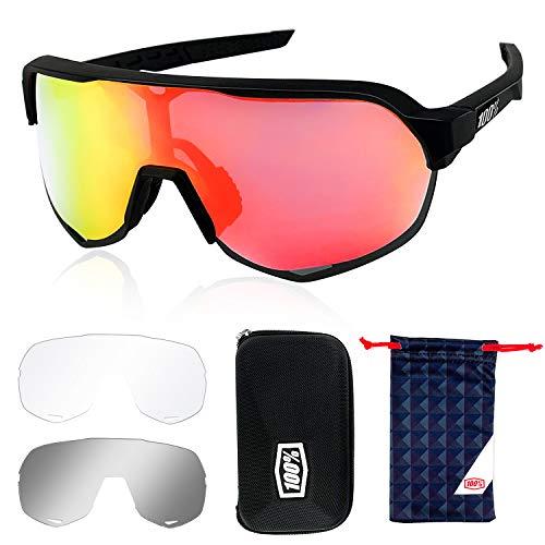 Putron Occhiali da Sole Sportivi, Occhiali Ciclismo Polarizzati, con 3 Lenti Intercambiabili, Anti-UV400 Protezione per Ciclismo, Corsa, Pesca, Guida, Sport All'aperto, Arrampicata,Sci, Vacanze