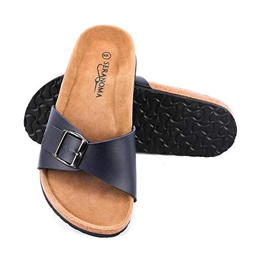 Seranoma Women's Open Toe Adjustable Buckle | Slip On Slide | Flat Footed Cork Sandal | Comfortable Footbed | Metal Buckle Navy