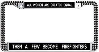 Women Firefighters Inspirational Quote License Plate Frame,Black Rhinestones Auto License Cover Holder
