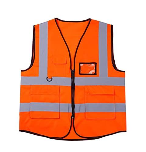 AP.DISHU Chaleco Reflectante Creativo,Traje De Ciclismo,Ropa Reflectante De Construcción De Tráfico,Chaleco De Seguridad,Chaleco De Saneamiento,Ligero Y Transpirable,Naranja,XL