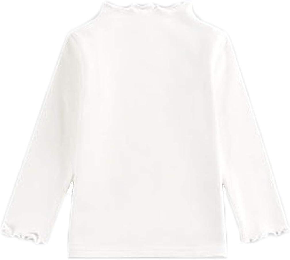 Kids Girls Boys Long Sleeve Tirtleneck Top Plain Basic Cotton Sweatshirt