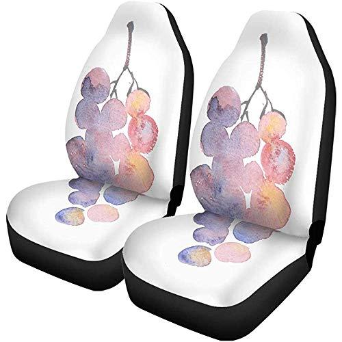 TABUE 2 stuks autostoelhoezen Red Rosy Grape aquarel schetsen wijn druif stoelbeschermer past voor auto, SUV limousine, vrachtwagen