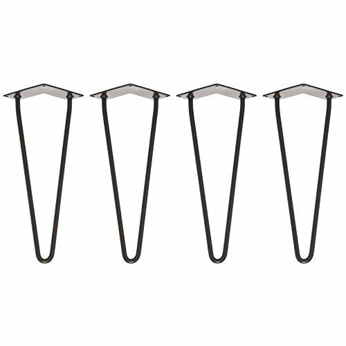 Metalltischbeine (x4) | Hairpin Legs - robuster, eleganter Ersatz für Möbel aller Art, die fast jedem DIY-Projekt ein industrielles Gefühl | Inklusive Schrauben