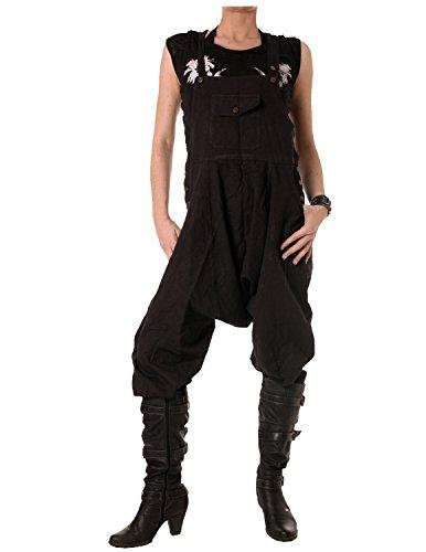 Vishes – Alternative Bekleidung – 3/4 Latzhose aus Baumwolle schwarz 44