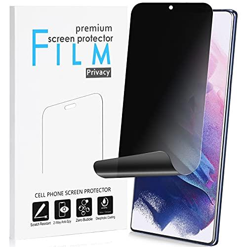 privacy screen protectors Galaxy S21 Privacy Screen Protector Support Fingerprint Sensor Full Adhesive Soft Film, Maxsoco 2-Way Anti Spy, Anti-Bubble, Case Friendly Nano Shield [Not Glass] for Samsung Galaxy S21 5G (6.2