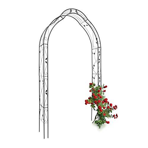 Relaxdays Rosenbogen Vogel mit Verzierung HBT 255 x 137 x 39 cm Torbogen aus Eisen als Rankhilfe für Kletterpflanzen wie Kletterrose mit romantischem Muster Rosenspalier als Rankgitter, schwarz