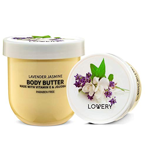 Lovery Whipped Body Butter Scented Body Lotion - Lavender Jasmine Body Butter, for Sensitive, Dry Skin - Hydrating Moisturizer with Pure Shea Butter for Nourishing Essential Body Care