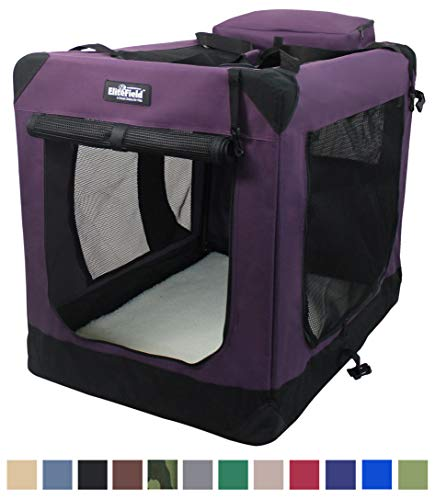 "EliteField 3-Door Folding Soft Dog Crate, Indoor & Outdoor Pet Home, Multiple Sizes and Colors Available (36"" L x 24"" W x 28"" H, Purple) Categories"