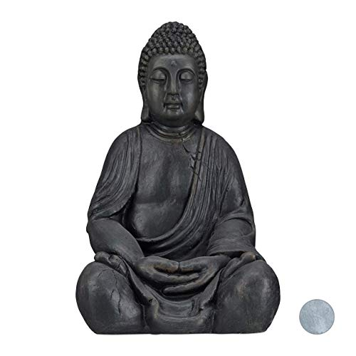 Relaxdays XL Buddha Figur sitzend, 50 cm hoch, Feng Shui, Outdoor, Garten Dekofigur, große Zen Buddha Statue, dunkelgrau