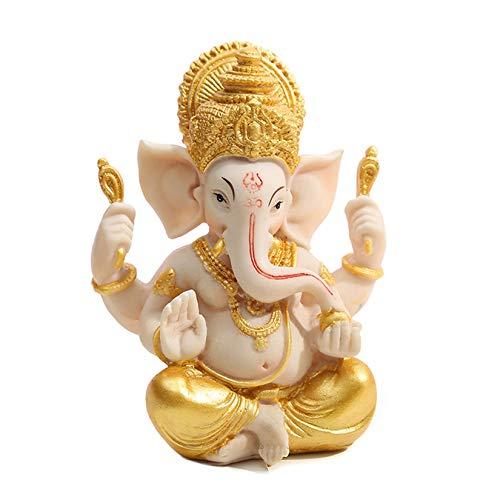 Ganesha Elephant God Statues- Resin India Elephant Sculpture Fengshui Lucky Wealth Hindu Buddha Figurine Ornament for Office Car Home Decor Crafts