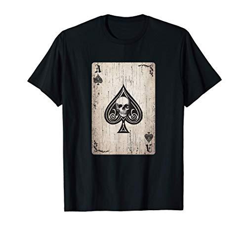 As de Picas Carta de la Muerte Biker Poker Camiseta