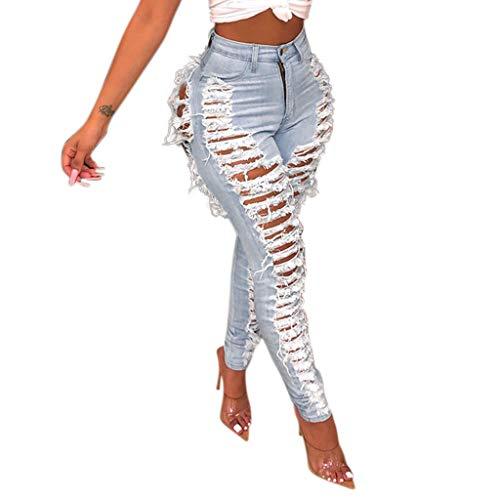 Sasstaids-pantaloni Jeans Donna Vita Alta Strappati Skinny Womens Hole Button Zipper Pocket Jeans Casual Denim Slim Tight Pencil Pants Strappati Sexy Jeans Donna Elasticizzati