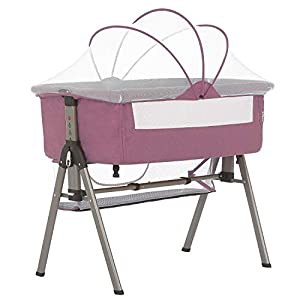 Dream On Me Lotus Bassinet & Bedside Sleeper in Berry Pink