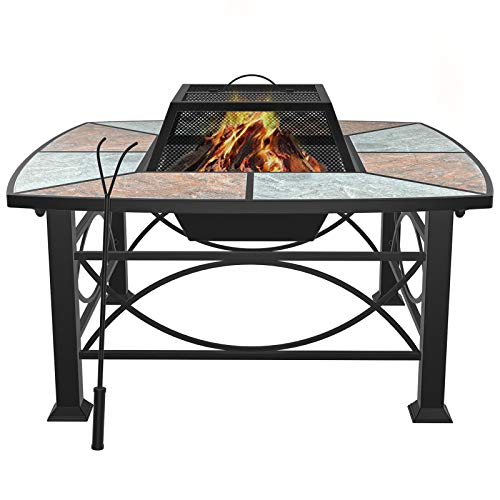 "Mecor Outdoor Square Fire Pit/Fireplace, 30"" Mosaic Fire Pits Outdoor Wood Burning Steel BBQ Grill Firepit Table with Spark Screen Cover Log Grate Fire Poker for Outside Backyard Bonfire Patio"