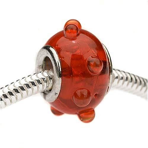 Beadaholique Murano Style Glass Lampwork Bumpy Pandora Compatible Beads, 16mm, Red