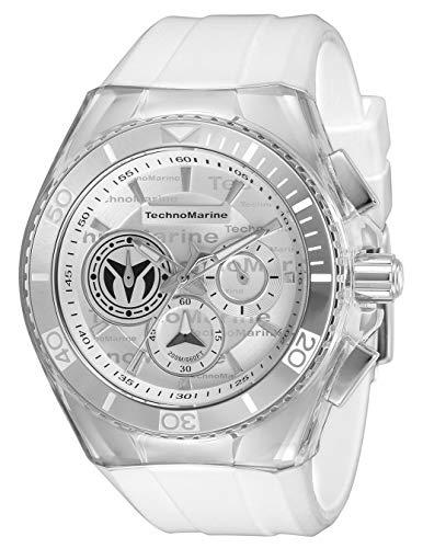 Technomarine Men's Cruise California Stainless Steel Quartz Watch with Silicone Strap, White, 29.1 (Model: TM-118120)
