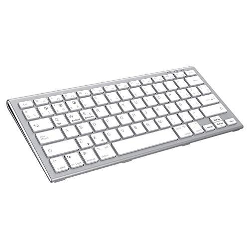 FENIFOX Teclado Bluetooth Español,Recargable Bluetooth Inalámbrico Teclado multidispositivo para hasta 3 Dispositivos Ergonómico Keyboard para iOS Mac, Android, Windows