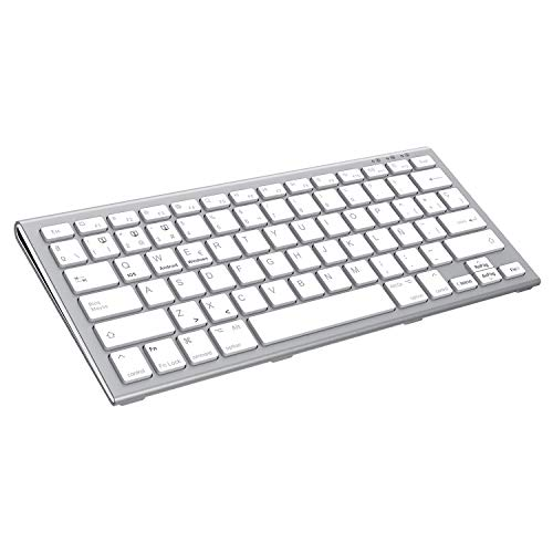 FENIFOX Teclado Bluetooth Español,Recargable Bluetooth Inalámbrico Teclado multidispositivo para hasta 3 Dispositivos Ergonómico Keyboard para iOS Mac, Android, Windows