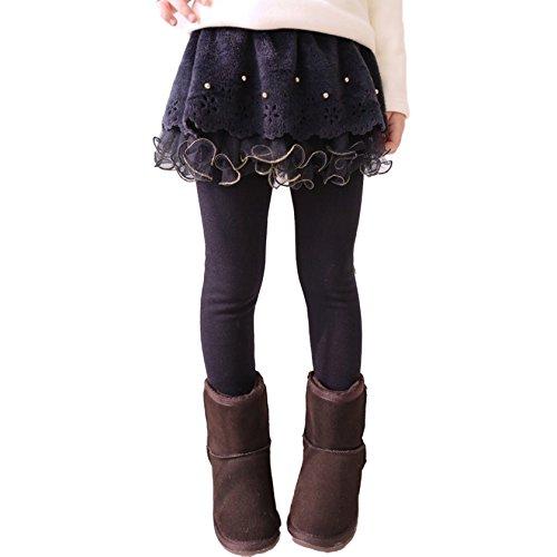 Mxssi Mädchen Leggings mit Rock - Kinderhose Lange Legging Tanzen Hose Frühling Herbst Winter Für 2-13 Jahre Kaffee Marine Blau Rose Rot
