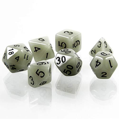 shibby 7 polyedrische leuchtende Würfel für Rollen- und Tabletopspiele in weiß mit Beutel