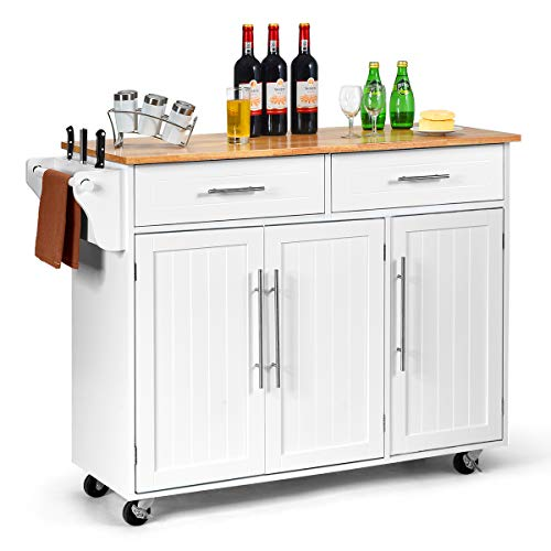 COSTWAY Kitchen Island with 2 Drawers and 2 Cabinets, Knife Rack, Adjustable Shelves, 4 Lockable Wheels