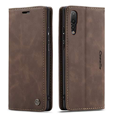 QLTYPRI Hülle für Huawei P20 Pro, Vintage Dünne Handyhülle mit Kartenfach Geldtasche Standfunktion PU Ledertasche TPU Bumper Flip Schutzhülle Kompatibel mit Huawei P20 Pro - Kaffee Braun