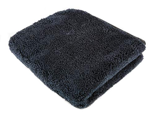 "SGCB Car Thick Plush Cloth Microfiber 1200GSM, 16"" x16"" Black Microfiber Towel Super Absorbent Car Cloths for Dust Clean, Streak & Lint Free Windshield Cloth for Car Glass Drying Wax Water Dust Remove"