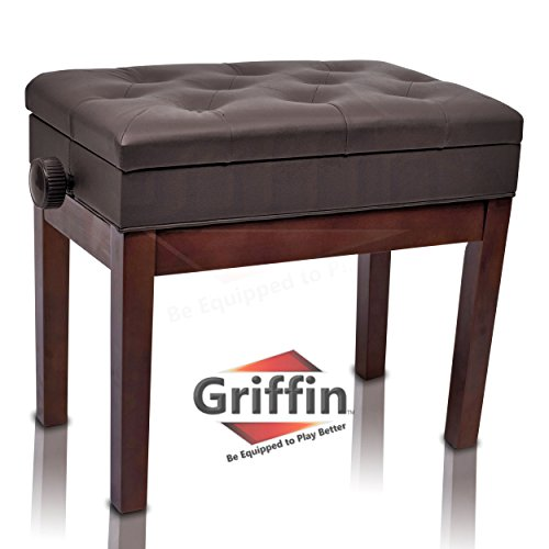 Why Should You Buy Adjustable Piano Brown Leather Bench by Griffin | Vintage Stylish Design, Heavy-D...