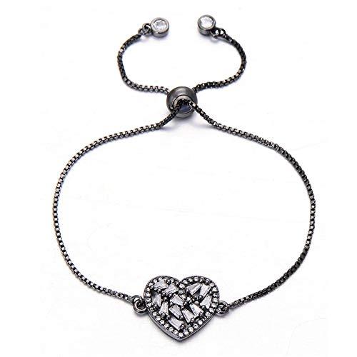 Mano Pulseras Brazalete Joyería Mujer Pulseras De Corazón con Encanto De Circón Completo Brillante Romántico para Mujer