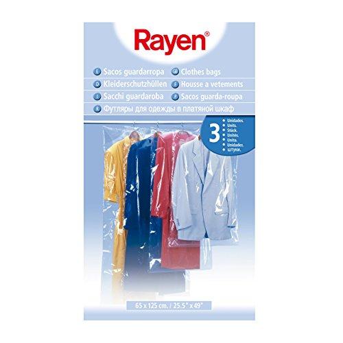 Rayen 6046 3 Custodie per Abiti, Plastica, Multicolore, 65 x 125 cm