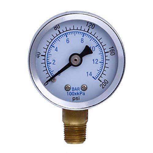 """Odoukey 1/8""""200 psi Manometer Brennstoffluftkompressor Instrument hydraulische Tester Kraftstoff-Luft-Flüssigkeit Doppelskala Druckmessgerät"""