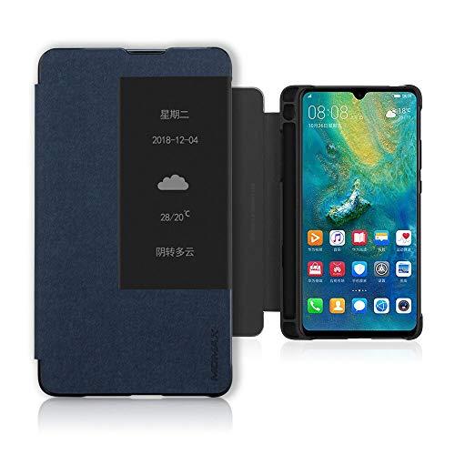 Huawei Mate 20X (5G) Hülle, PC + PU Leder Hülle mit M-Pen Slot, stoßfest, Ganzkörperschutz für Huawei Mate 20 X (5G) Blau
