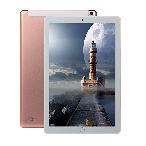 JJ 10.1 inch Android 8.0 Tablet, 1960 * 1080 HD IPS Screen, mit 4GB RAM+64GB ROM, Tablet 10 Octa Core MT6797 4G Dual SIM Card Phone 4G Call WiFi Tablets PC-Pink