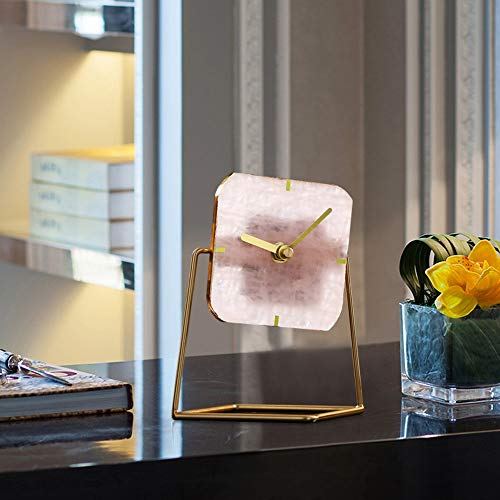DAMAI STORE Agate Kleine Tischuhr Kreative Mode Persönlichkeit Desktop-Uhr- / Living Home Schreibtisch Schreibtisch Uhr 16 * 14cm (Color : Pink)