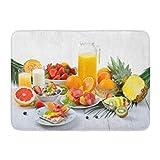 LIS HOME Bad Matte Bunte Tabelle gesundes Frühstück frisches Obst Knäckebrot magerer Schinken Hüttenkäse Orangensaft Badezimmer Dekor Teppich