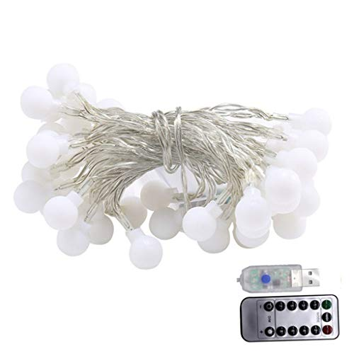 Outdoor Led Light 5M 50 Led Ball Light String Light USB Led Remote Control Waterproof Romantic Spherical Light String Decorative Light Ball Light String for Bedroom,Christmas Tree,Wall