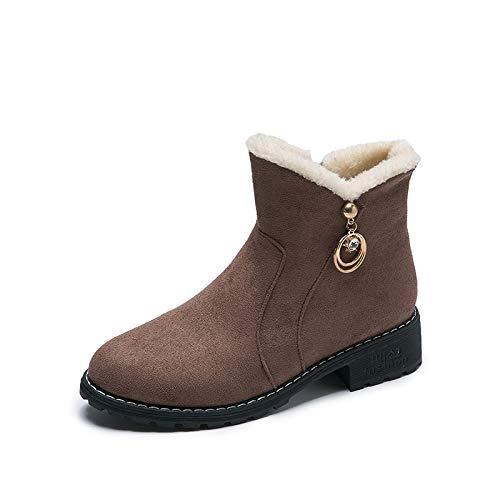 SJDYJ Damen Schneeschuhe Damen Winter warme Schneeschuhe Damen Slip on wasserdichteHerbst und Winter Stiefel Frauen koreanischen Studenten Stiefel samt dicken Schneeschuhen warme Baumwollschuhe39