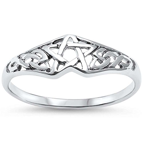 Oxford Diamond Co Sterling Silver Pentagram Celtic Star Ring Sizes 7