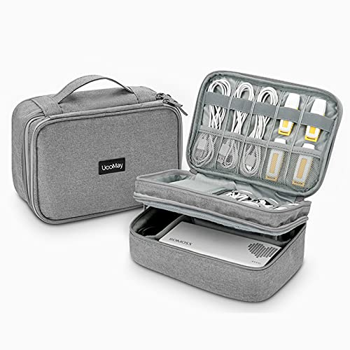UooMay Electronics Travel Organizer Storage Bag,Waterproof Electronic Accessories Case,Portable Double Layer Gadget Storage Bag for Cables,Charger, Flash Drive, Phone, Ipad Mini etc. (Gery)