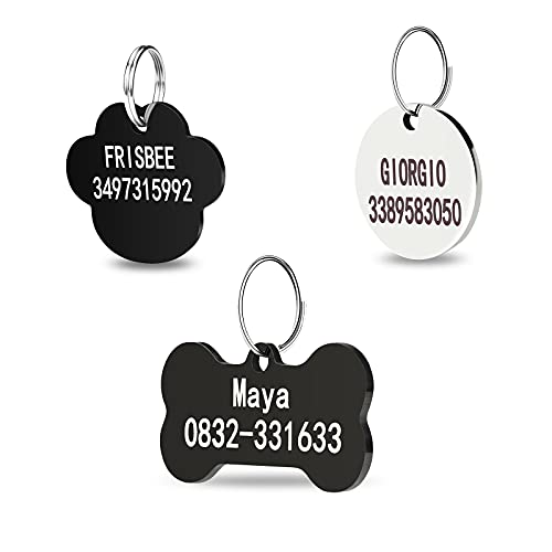 Stainless Steel Pet ID Tags, Personalized Dog Tags , 2 Lines of Custom Text,Names and Phone Number Engraved on Both Sides, in Bone, Round,Dog Paw; Black or Silver