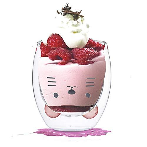 Tiamu Taza de café, Tazas de Vidrio Doble Pared Taza de leche, Vidrio Pyrex, regalo de cumpleaños (Lindo gato)