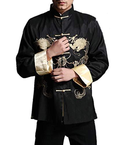 Interact China Stylish Black Kung Fu Men's Blazer Padded Jacket Dragon Shirt - 100% Silk #107 + Free Magazine