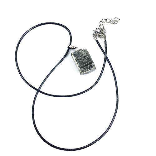 ASDFG Colgante Cuadrado calcopirita Colgante de Piedra de pirita Natural Collar de Mineral de Destello de Piedra Dorada Irregular