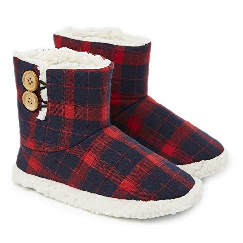 Dunlop Zapatillas Casa Mujer | Zapatillas Calienta Pies Invierno Cerradas | Pantuflas de Casa Regalo para Mujer | Botas Altas Forradas de Borreguito Suela de Goma Dura (39 EU, Azul Marino/Rojo)