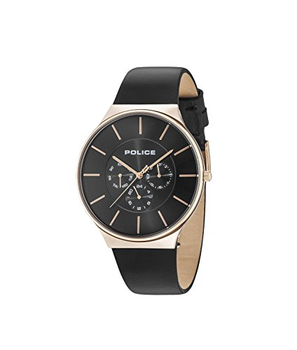 Police Herren Multi Zifferblatt Quarz Uhr mit Leder Armband 15044JSR/02