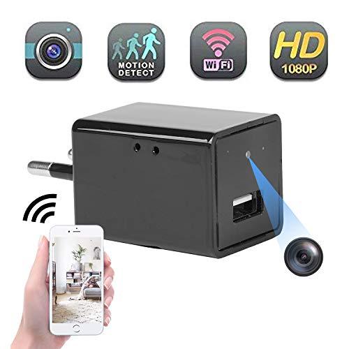 Mini cámara espía oculta Full HD 1080P Cargador USB Cámara wifi para vigilancia de seguridad en el hogar con vista remota/Detección de movimiento/Grabación en bucle para usar y usar