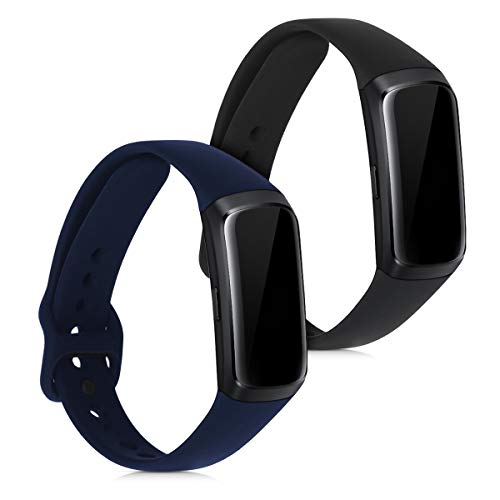 kwmobile 2X Pulsera Compatible con Samsung Galaxy Fit (SM-R370) - Brazalete de Silicona Negro/Azul Oscuro sin Fitness Tracker