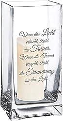 Casa Vivente Blumenvase mit Gravur zum Trost, Vase aus Echtglas, Deko Windlicht, Trauergeschenk für Verwandte und Freunde